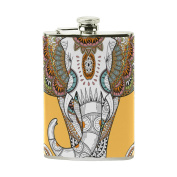 COOSUN Splendid Elephant Drinking Flask with PU Leather Wrapped, Stainless Steel Leak Proof Liquor Hip Flask, 240ml