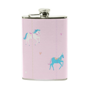COOSUN Pink Unicorns Drinking Flask with PU Leather Wrapped, Stainless Steel Leak Proof Liquor Hip Flask, 240ml