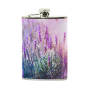 COOSUN Lavender Flowers Field Drinking Flask with PU Leather Wrapped, Stainless Steel Leak Proof Liquor Hip Flask, 240ml
