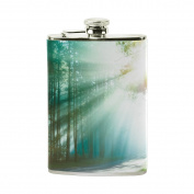 COOSUN Magical Forest Drinking Flask with PU Leather Wrapped, Stainless Steel Leak Proof Liquor Hip Flask, 240ml