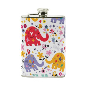 COOSUN Cute Elephants Pattern Drinking Flask with PU Leather Wrapped, Stainless Steel Leak Proof Liquor Hip Flask, 240ml
