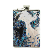 COOSUN Abstract Water Drops Drinking Flask with PU Leather Wrapped, Stainless Steel Leak Proof Liquor Hip Flask, 240ml