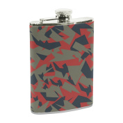 COOSUN Military Camouflage Texture Drinking Flask with PU Leather Wrapped, Stainless Steel Leak Proof Liquor Hip Flask, 240ml