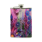 COOSUN Floral Paintings Drinking Flask with PU Leather Wrapped, Stainless Steel Leak Proof Liquor Hip Flask, 240ml