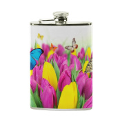 COOSUN Tulips And Butterflies Drinking Flask with PU Leather Wrapped, Stainless Steel Leak Proof Liquor Hip Flask, 240ml
