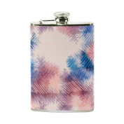 COOSUN Hippie Tie Dye Summerpattern Drinking Flask with PU Leather Wrapped, Stainless Steel Leak Proof Liquor Hip Flask, 240ml
