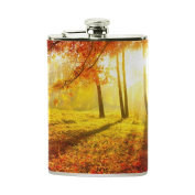 COOSUN Autumnal Park Drinking Flask with PU Leather Wrapped, Stainless Steel Leak Proof Liquor Hip Flask, 240ml
