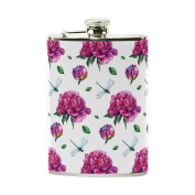 COOSUN Watercolour Peonies And Dragonfly Drinking Flask with PU Leather Wrapped, Stainless Steel Leak Proof Liquor Hip Flask, 240ml
