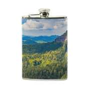 COOSUN Impressive Views Drinking Flask with PU Leather Wrapped, Stainless Steel Leak Proof Liquor Hip Flask, 240ml