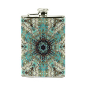 COOSUN Blue Trippy Drinking Flask with PU Leather Wrapped, Stainless Steel Leak Proof Liquor Hip Flask, 240ml
