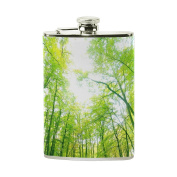 COOSUN Green Forest Drinking Flask with PU Leather Wrapped, Stainless Steel Leak Proof Liquor Hip Flask, 240ml