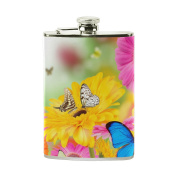 COOSUN Spring Flowers And Butterflies Drinking Flask with PU Leather Wrapped, Stainless Steel Leak Proof Liquor Hip Flask, 240ml