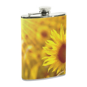 COOSUN Sunflower In The Field Drinking Flask with PU Leather Wrapped, Stainless Steel Leak Proof Liquor Hip Flask, 240ml