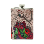 COOSUN Coral Rose Art Drinking Flask with PU Leather Wrapped, Stainless Steel Leak Proof Liquor Hip Flask, 240ml