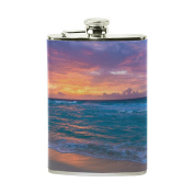 COOSUN Sea Sunrise Drinking Flask with PU Leather Wrapped, Stainless Steel Leak Proof Liquor Hip Flask, 240ml