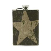 COOSUN Military Background Drinking Flask with PU Leather Wrapped, Stainless Steel Leak Proof Liquor Hip Flask, 240ml