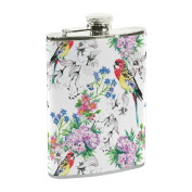 COOSUN Birds In Blooming Garden Drinking Flask with PU Leather Wrapped, Stainless Steel Leak Proof Liquor Hip Flask, 240ml