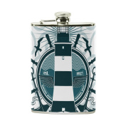 COOSUN Nautical Theme Drinking Flask with PU Leather Wrapped, Stainless Steel Leak Proof Liquor Hip Flask, 240ml