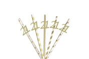 21st Birthday Party Straws - Glitter Gold with Gold Paper Straws