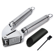 Garlic Press ZZM Durable Stainless Steel Kitchen Garlic/Ginger Mincer Crusher and Peeler Set with Silicone Tube Roller Cleaning Brush