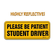 Zento Deals Please Be Patient Student Driver Reflective Magnetic Sign Decal