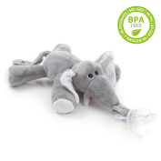 BabyHuggle Elephant Pacifier - Stuffed Animal Binky, Soft Plush Toy with Detachable Silicone Baby Dummy, Paci Clip Leash & Squeaky. Teether Holder. Safe & Soothing Baby Shower Gift for Boys & Girls