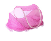 Fengh Portable Baby Infant Folding Mosquito Insect Net Set With Mattress Pillow Pink