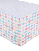 Sugar Q 100% Cotton Pink Aqua Grey Pattern Pleated Crib Bed Skirt, Baby Nursery Toddler Bedding, Boys/Girls 41cm Drop