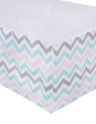 Sugar Q 100% Cotton Cream Pink Blue Grey Stripe Zigzag Pattern Pleated Crib Bed Skirt, Baby Nursery Toddler Bedding, Boys/Girls 41cm Drop