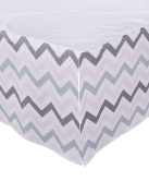 Sugar Q 100% Cotton Pink Grey Stripe Zigzag Pattern Pleated Crib Bed Skirt, Baby Nursery Toddler Bedding, Boys/Girls 41cm Drop