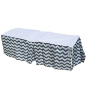Sugar Q 100% Cotton Grey & White Zigzag Pattern Pleated Crib Bed Skirt, Baby Nursery Toddler Bedding, Boys/Girls 41cm Drop