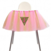 LNPP High Quality Mesh Fluffy Baby Chair Skirt Birthday Party Decor, 39*35cm , F
