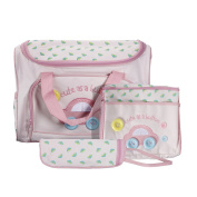 Caveen Nappy Bag Nursery Bag Large Mummy Handbag Lovely Baby Nappy Nappy Bag Changing Set with Nappy Mat Pink