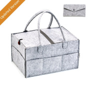 Baby nappy Caddy Organiser, Nursery Storage Bin and Car Organiser with handle and lid for Nappies, Baby Wipes or changing table with foldable lid by YAAGLE