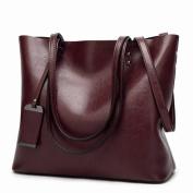 Fashion Tote Retro Oil Large-Capacity Shoulder Bag Messenger Bag , coffee