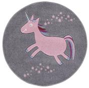 Kids rug Happy Rugs UNICORN silver-grey/pink 133cm round