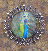 Peacock, Glass Bead Brooch Lapel Pin Badge Handmade Arts and Craft, Victorian