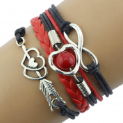 Infinity Love Heart Pearl Friendship Antique Leather Charm Bracelet Beauty Top