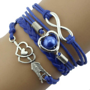 Infinity Love Heart Pearl Friendship Antique Leather Charm Bracelet Beauty Top