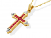 F.Hinds 9ct Yellow Gold Diamond And Ruby Cross And Chain Necklace Pendant Women