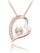Quadiva E Heart Pendant Necklace (Rose Gold) Sparkling ® Crystals