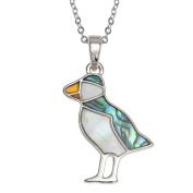 Kiara Jewellery Puffin Pendant Necklace Inlaid With Natural Green And Mother Of Pearl Paua Abalone Shell on 46cm Trace Chain. Non Tarnish Silver Colour Rhodium plated.