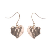 Rose Gold Hammered heart earrings
