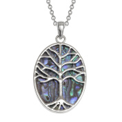 Kiara Jewellery Reversible Oval Celtic Tree Of Life Pendant Necklace Inlaid Both Sides With Bluish Green Paua Abalone Shell on 46cm Trace Chain. Non Tarnish Silver Colour Rhodium plated.