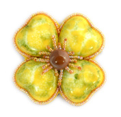 Clover Large Flower Brooch fantasy yellow and green porcelain and glass beads – Jewellery