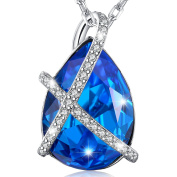 MARENJA-Christmas Gift Women's Fashion Necklace-Blue Teardrop Pendant with Chain-White Gold Plated Crystal Jewellery