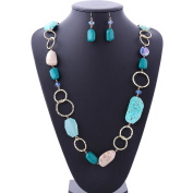 BOCAR Fashion Long Chunky Cryastl Beads Necklace and Earrings Set for Women Gift