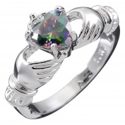 GWG® Sterling Silver Claddagh Love Ring for Women with Rainbow Topaz Heart CZ Stone, Hands, and Crown