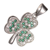 GWG® 18K White Gold Plated Shamrock Flower Dewed with Coloured Zircon Stones Pendant Necklace for Women
