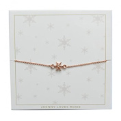 Johnny Loves Rosie Snowflake Rose Gold Gift Card Women Cubic Zirconia Charm Bracelet of Length 22cm 5055632017921